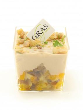 Mini-verrine confit de légumes/crémeux de châtaignes